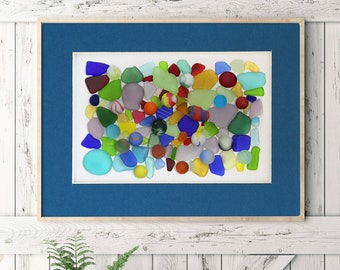 """Sea Glass and Sea Marble print, matted print - 16x20"""" mat with 11x14"""" Seaglass and Seamarble Print"""