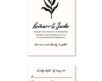 Classic Personalized Wedding Invitation and RSVP Card (Customized Printable PDF)