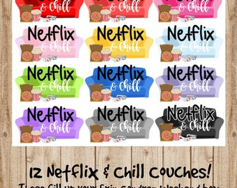 Sticker Biotches Co. (12) RAINBOW Netflix & Chill Couches **DOUBLE BOX sized** for the Erin Condren Vertical Life Planner or Happy Planner