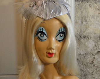 1920s Flapper Gatsby Silver Chained Feather Fascinator Headpiece Headband