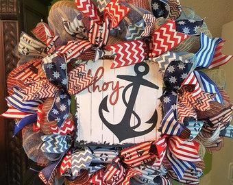 Summer Wreath, Nautical Wreath, Beach Wreath, Burlap Wreath