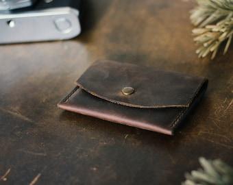 Leather purse wallet purse of dark brown small minimalistsisch slim oldschool vintage style