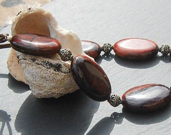 Red tigers eye chunky necklace, tigers eye and silver necklace, Statement necklace, Tigers eye statement necklace, Pebble necklace