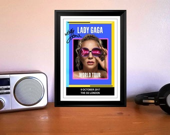 Lady GaGa Joanne London 9th October 2017 Concert Flyer Autographed Signed Print