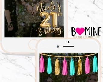 BIRTHDAY SNAPCHAT GEOFILTER, Balloon Snapchat, Custom Snapchat Geofilter, Foil Balloon, Tassel Garland, Tassel Banner, Gold Snapchat, Filter