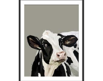 Cow Print. Cow Gift. Cow Painting. Cow Art by Green Lili. Digital Art Wall Art. Art Gift. Wall Decor