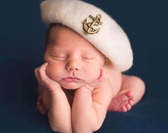 Felted Sailor Hat, Newborn Hat, Newborn Photography Prop
