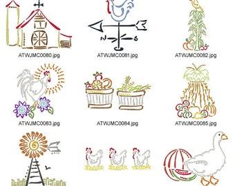 Decorative-Farm-Art-Deco. ( 10 Machine Embroidery Designs from ATW )