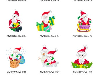 Borderless-Santa for 5x7 hoop ( 10 Machine Embroidery Designs from ATW ) XYZ17B