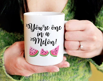 "Watermelon Mug ""You're one in a Melon"" Mug Custom Coffee Mug Gift - Watercolor Watermelon Slices - Tea Mug Cute Gift for Her Personalized"