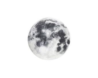 MOON watercolor Print || Moon Art Print, Luna Art, Decor Moon, Space Art, Boho Art, Moon Painting,Full Moon, Minimalist Art, Cosmic Black,