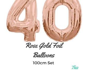 "Rose Gold 40th Birthday Balloons 100cm (40"") Helium Giant Foil Balloons"