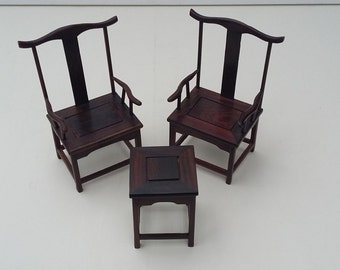 Rare Vintage Miniature Hand Carved Chinese Emperor Chairs and Matching Table Set Mid Century Doll's Furniture Set