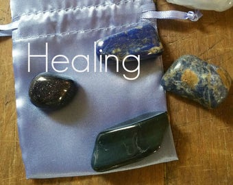 Gemstones For Healing, with French Blue Satin Pouch