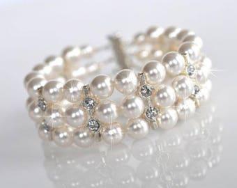 Handmade Pearl and Crystal Rhinestone 3-Strand Bridal Bracelet, Bridal, Wedding (Pearl-387)