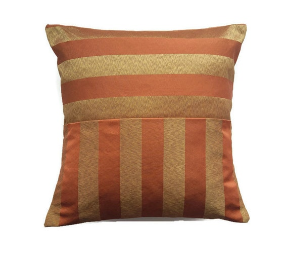 Rust and gold pillow cover striped burnt orange and beige for Beige and gold pillows