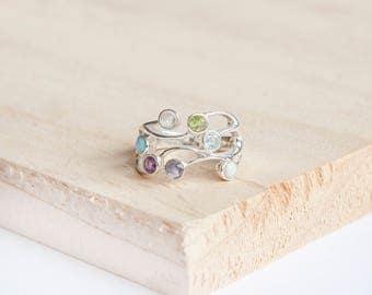Chiyoku Organic Ring, Sterling Silver, Moonstone Ring, Opal Ring, Amethyst Ring, Iolite Ring, Peridot Ring, Blue Topaz Ring, Silver Jewelry