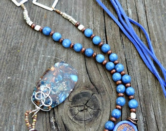 Boho Necklace Long. Beaded Boho Necklace. Blue Marble Pendant Necklace. Leather Beaded Necklace. Boho Jewelry. Leather Necklace.