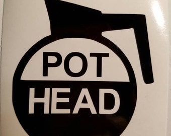 Pot Head Coffee pot Decal - perm. vinyl - For Yeti/Rtic cups, Keurigs, cups, mugs. Coffee bar, Cafe decor, coffee cup, java, kitchen decals.