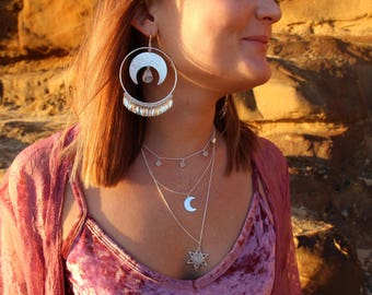 OPIAAA Big Earrings: Moonstone Earrings, Sterling Silver Earrings, Boho Earrings, Gypsy Earrings, Dangle Earrings, Sunsara Jewellery, Big