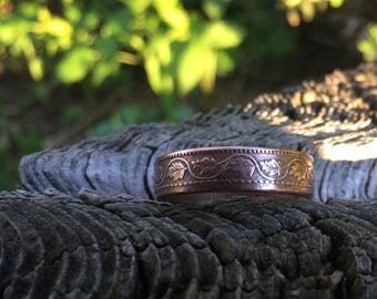 Canadian large cent coin ring