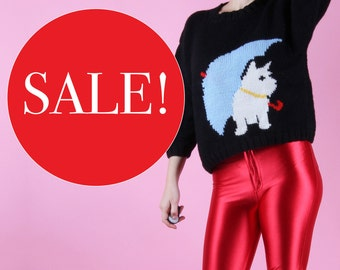 Quirky 80s Vintage Scottish Terrier Woolly Knit Jumper