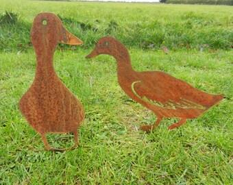 Rusty Metal Duck / Duck Garden Decor / Metal Duck Gift / Duck Ornament /  Metal