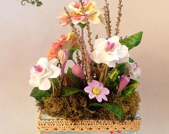 Flowers Cold Porcelain Miniature BEGONIAS Home Decor-Hand Made