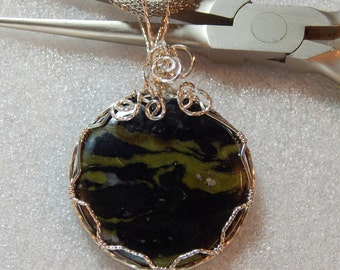 Picture Jasper Pendant Necklace wire wrapped in sterling silver wire, Green Clouds