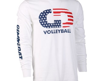 GIMMEDAT Volleyball Stars & Stripes Long Sleeve Volleyball T-Shirt, Volleyball Shirts, Volleyball Gift - Free Shipping!
