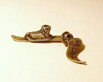 Sterling Ski and Boot and June Lake Calif Banner Charms