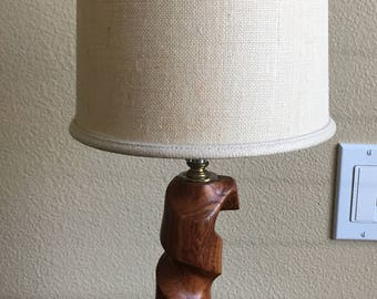 Hand Carved Solid Wood Desk Lamp with Shade, Wood Table Lamp, Wood Curved Desk Lamp