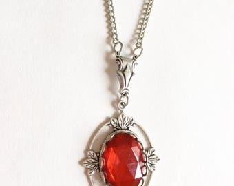 Tudor necklace, Medieval necklace, Tudor Jewellery, Silver necklace, Renaissance necklace, Red necklace, Antique necklace, gift for her