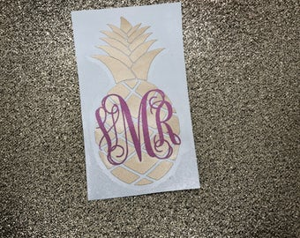 Monogram Pineapple Vinyl Decal | Pineapple Decal | Monogram Sticker | Yeti Cup Decal | Yeti Cup Monogram | Custom Decal
