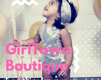 Baby Girl Glitter Sequin Silver Romper set with Bowknot headband