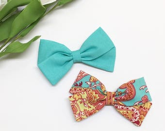 Baby Bow Set - Turqoise and Peach - Baby Bow - Clips or headbands