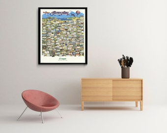 Vintage Silicon Valley Map 1991, old Silicon Valley Print, Art Poster,Office Decor, Home Decor Print
