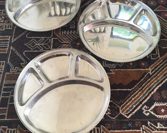 Three Divided Metal Lunch Trays