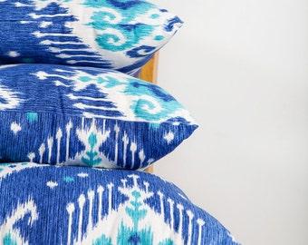 Large Blue Pillow, Ikat, Blue Pillow, Ikat Blue Pillow, Large Pillow, Blue Ikat Decor, Ikat Pillow, Blue Decor, Cozy Home, Ocean Blue