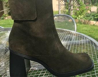Olive Green Platform Heel Boots SIZE 8.5