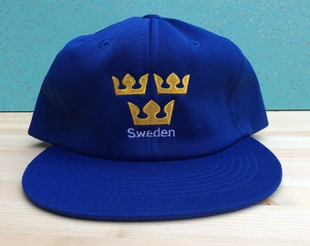 Wool Sweden Deadstock Vintage 80's Canada Cup Ted Fletcher snapback cap blue