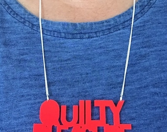 Quilty Pleasure Acrylic Necklace - in Neon Red