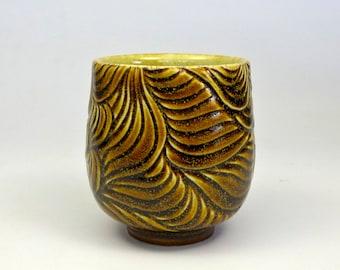 Hand carved porcelain Tenmoku Gold yunomi