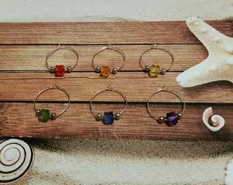 Wine charms x 6 , silver-toned wine charms, rainbow wine charms, cup charms, glass charms, bottle charm, glass marker, LGBT wine charms