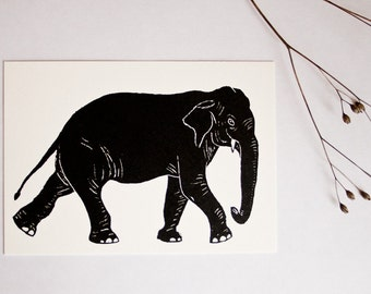 Postcard Elephant, animal illustration, greeting card illustration, scratchboard, black white, wildlife postcard