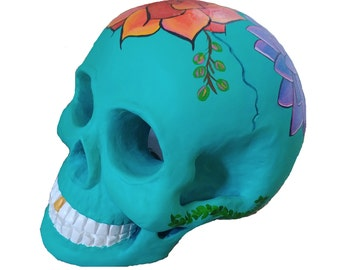Hand Painted Teal Ceramic Skull with Succulents/Flowers