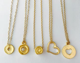 Layering Necklace, Gold Disk Necklace, Swirl Necklace, Heart Necklace, Pearl Necklace, Cut out Heart Necklace, Charm Necklace, Minimalist
