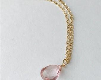 Rose Quartz Necklace Pink Quartz Necklace Briolette Necklace October Necklace October Birthstone October Birthday