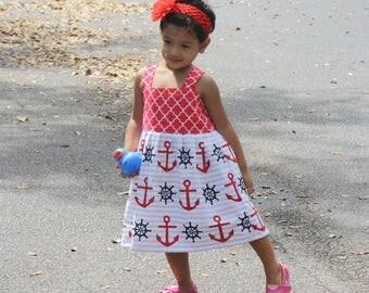 Girls Nautical Dress, Girls Summer Dress, Girls Cotton Dress