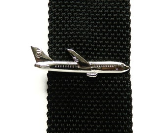 Airplane tie clip wedding groomsmen gift for men pilot airliner vintage plane tie clips